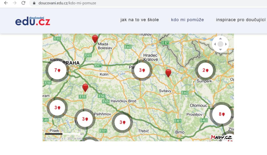 Mapa neziskových organizací, které poskytují doučování